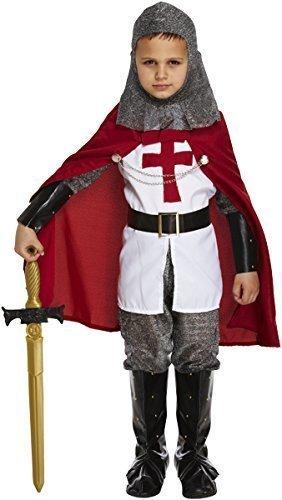 7 teilig für Jungen, St Georges Day Ritter Mittelalter Dragon Slayer Book-Tage-Woche Kostüm Outfit bis 12 Jahre -