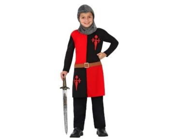 Atosa 23456 – Ritter Junge Kostüm, Größe 104, schwarz/rot -