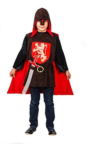 Elegantes Ritter Kostüm Mittelalter für Kinder rot-braun mit Schwert – Ritter Kostüm für Jungen (152) -