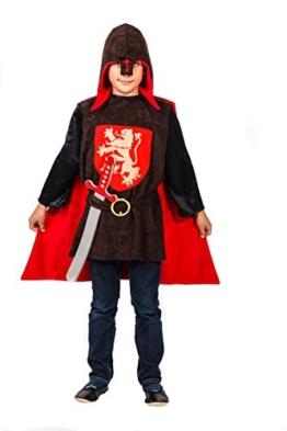 Elegantes Ritter Kostüm Mittelalter für Kinder rot-braun mit Schwert - Ritter Kostüm für Jungen (152) -