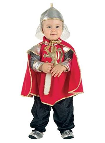 Premium Ritter-Kostüm für Babys mit Umhang, Kapuze und Füßlinge | Hochwertiges Karnevals-Kostüm / Faschings-Kostüm / Babykostüm | Perfekte Musketier Verkleidung für Karneval, Fasching, Fastnacht (Größe: 92) -