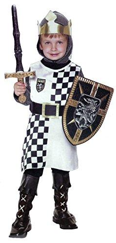 Ritter Kostüm für Jungen - Schwarz, Weiß - Kinderkostüm - S - Gr. 116 - 3-5 Jahre -