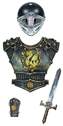 Ritter Kostüm Set 4-tlg. für Kinder - Goldfarben - Weapon Helm Brustpanzer Armschoner Schwert -
