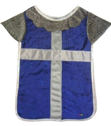 Trullala Ritterhemd, Ritterkostüm, Faschingskostüm, Größe: M in blau-silber (4-6 Jahre) -