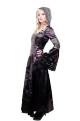 Kostüm Damen Damenkostüm aufwändiges Kleid mit Haube Mittelalter Romantik Elfe Gotik Gothic Burgfräulein L068 Gr. 46 / L -