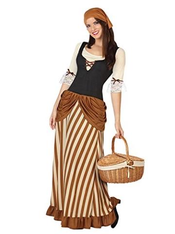 Mittelalterliche Bäuerin Damenkostüm Mittelalter braun beige XS/S -