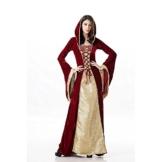 Mittelalterliches Burgfräulein Kostüm Rot/Gold in Deluxe-Ausführung Gr. XS/S Kleid -