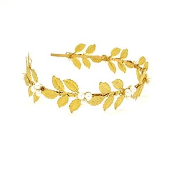 Göttin Princess Pearl Tiara Krone Hochzeit Abschlussball Brautschmuck Blume Flower Leaf Blatt Haar Vine -