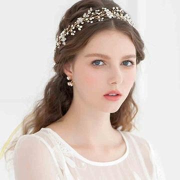 Princess Brautjungfer Hochzeit Braut Ball Kopfbedeckung Bohemia Stil Blume Stirnband Haarreif Diadem Tiara Krone Süßwasserperle Halo Haar Zubehör für Mädchen -