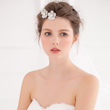 Prinzessin Kristall Strass Perle Hochzeit Abschlussball Brautschmuck Haarreif Diadem Tiara Krone Blume Mädchen Kopfbedeckung -