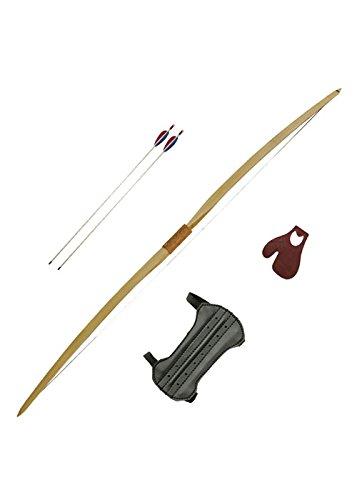 Bogeschützenset beidhändiger Langbogen 60 Zoll inklusive Sehne mit 2 Pfeilen, Tab und Armschutz 20 oder 30 lbs – Mittelalter – LARP – Wikinger Bogen (20 lbs) -
