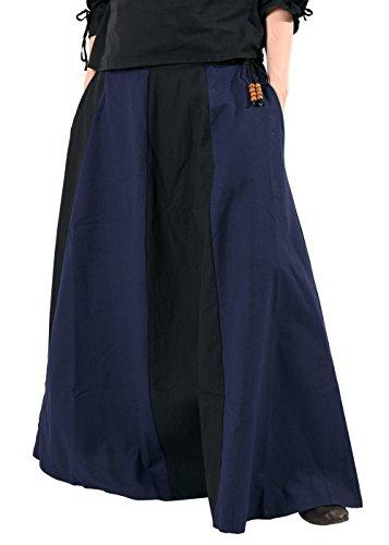 Mittelalterlicher Rock, weit ausgestellt aus schwerer Baumwolle Mittelalter LARP Wikinger Kostüm verschiedene Ausführungen (XXL, Schwarz/Blau) -